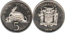 coin Jamaica 5 cents 1974