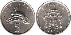 coin Jamaica 5 cents 1969