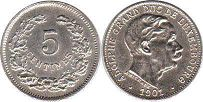 coin Luxembourg 5 centimes 1901