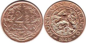 coin Curacao 2,5 cents 1948