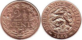 coin Netherlands Antilles 2.5 cents 1959