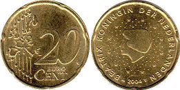 coin Netherlands 20 euro cent  2004