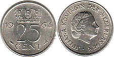 coin Netherlands 25 cents 1964