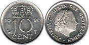 coin Netherlands 10 cents 1980
