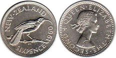 coin New Zealand 6 pence 1960