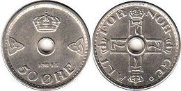 coin Norway 50 ore 1948