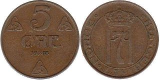 coin Norway 5 ore 1938