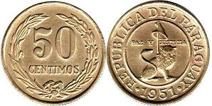 coin Paraguay 50 centimos 1951