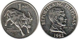 coin Philippines 1 piso 1992
