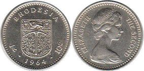 coin Rhodesia 1' 10 cents 1964