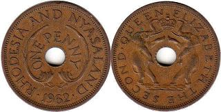 coin Rhodesia and Nyasaland 1 penny 1962