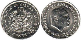 coin Sierra Leone 10 cents 1984