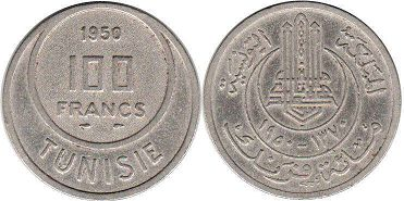 piece Tunisia 100 francs 1950