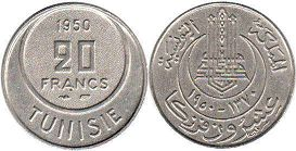 piece Tunisia 20 francs 1950