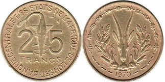 piece West African States 25 francs 1970