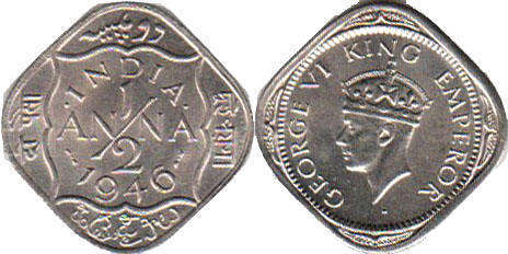 British India coins catalog with images and values, currency prices and  photo, Indian old coins