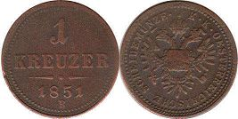 coin Austrian Empire 1 kreuzer 1851