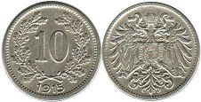 coin Austrian Empire 10 heller 1915