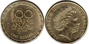 australian commemmorative coin 1 dollar 2014