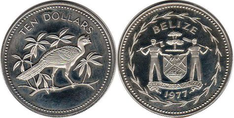 coin Belize 10 dollars 1977