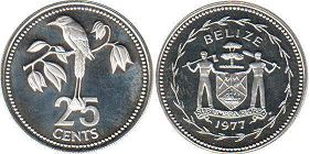 coin Belize 25 cents 1977