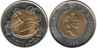 coin canadian commemorative coin 2 dollars 1999