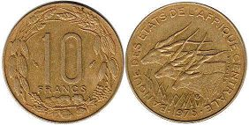 piece Central African States (CFA) 10 francs 1975