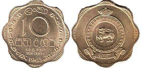 coin Ceylon 10 cents 1963