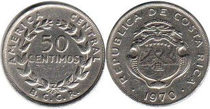 coin Costa Rica 50 centimos 1970