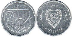 coin Cyprus 5 mils 1981