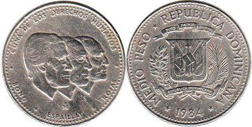 coin Dominican Republic 1/2 peso 1984