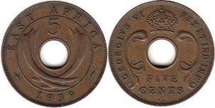 coin BRITISH EAST AFRICA 5 cents 1939