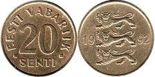 coin Estonia 20 senti 1992