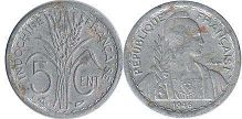 coin French Indochina 5 cents 1946