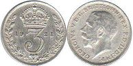 coin UK old coin 3 pence 1921