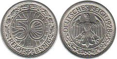 coin German Weimar 50 pfennig 1928