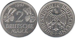 coin Germany 2 mark 1951