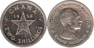 coin Ghana two shillings 1958
