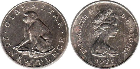 coin Gibraltar 25 new pence 1971