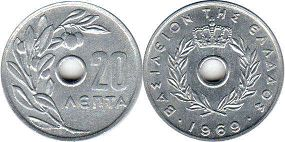 coin Greece 20 lepta 1969