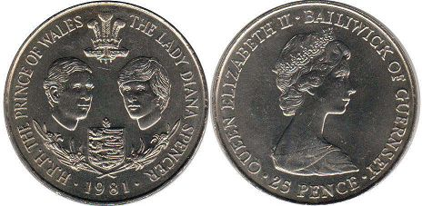 Charles and Diana coin Guernsey 25 pence 1981