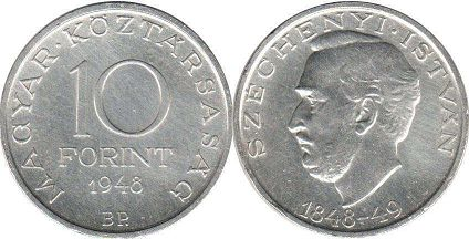 coin Hungary 10 forint 1948