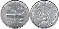 coin Hungary 20 filler 1991