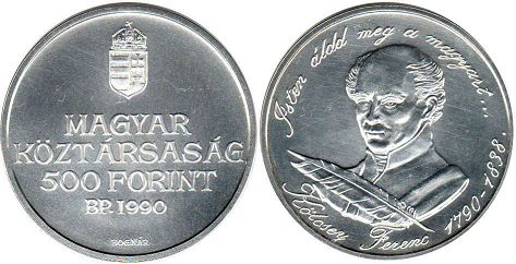 coin Hungary 500 forint 1990