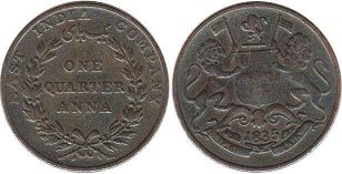 coin East India Company 1/4 anna 1835