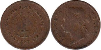 coin Straits Settlements 1 cent 1894
