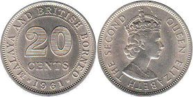 coin Malaya 20 cents 1961