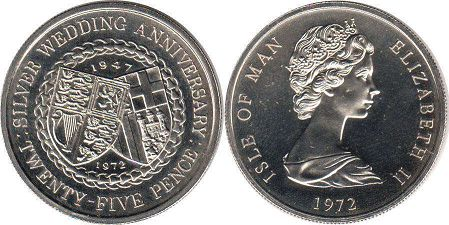 coin Isle of Man 25 pence 1972