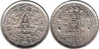 coin Nepal 1 rupee 1973