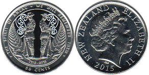 coin New Zealand 50 cents 2015 ANZAC